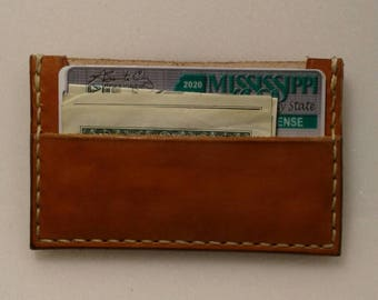 Minimalist front pocket wallet, leather handmade with 2 pockets and made in the USA