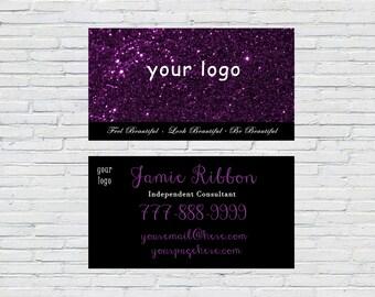 Glitter Purple Business Card, Business Card Digital, Business Card Custom, Business Card Design, Business Card Event, Free Personalization