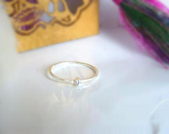 Mineral stone gold plated silver ring