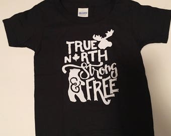 True North Strong and Free Toddler tshirt- kids tshirt, kids clothing, canadian made, birthday, christmas