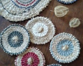 sottocaraffa and linen and jute coasters set