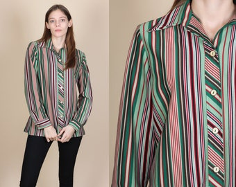 70s Striped Pointed Collar Top - Large // Vintage Red & Green Retro Button Up Shirt