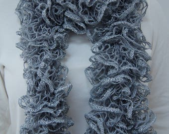 Gray and silver sparkling ruffled scarf.