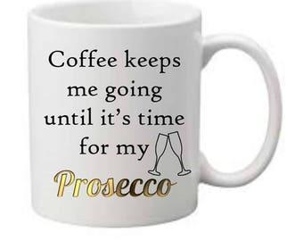 Prosecco slogan printed mug, boxed