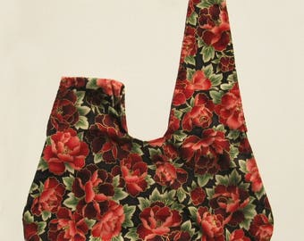 Knot bag (Japanese knot bag) in smooth cotton with red peonies