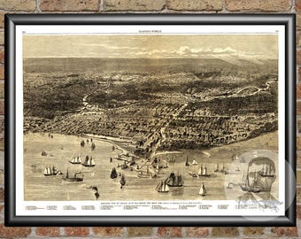 Chicago, Illinois Art Print From 1871 - Digitally Restored Old Chicago, IL Map Poster - Perfect For Fans Of Illinois History