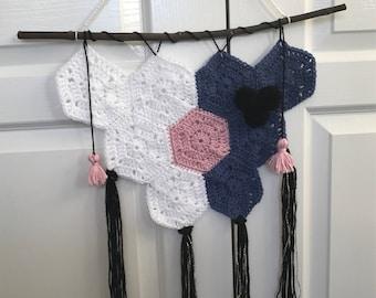 Hexagon Crochet wall hanging