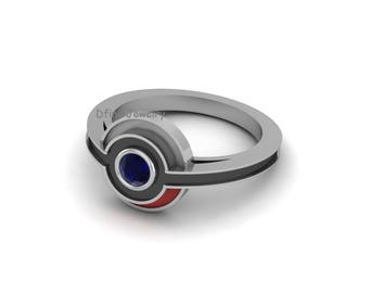 Pokemon Inspired Womens Engagement Ring Solitaire Blue Sapphire Wedding Red Enamel Sci Fi Fantasy Cartoon