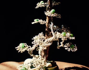 Spiral bonsai adorned with green Agate beads.