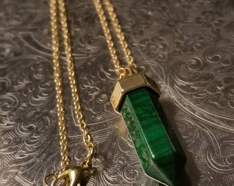 Jade Gold- plated Pendant Necklace - Green Chakra Healing