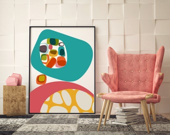 Mid Century Modern Prints, Teal Art, Modern Abstract Prints, Vintage Modern  Home
