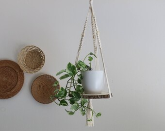 CHARITY DONATION White Shelf Macrame Plant Hanger with Wooden Beads