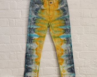 Ladies Size xxs/6 regular Jeans  -Straight Leg  - Beach - Festival - Ready To Ship - Tie Dyed - 100% Cotton - FREE SHIPPING within AUS