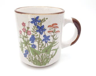 Wild Flower Garden Stoneware Mug Korea Vintage Natural Look with Brown Trims Coffee Time Break Work Cups Hot Beverages Tea Wildflower Spring
