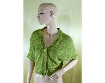 Vintage Betty Jackson women cardigan vest green linen and cotton