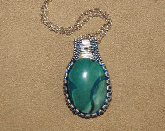 284 Square weaved American blue and silver chrysocolla pendant