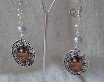 Earrings silver and cabochon girl