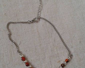 "anklet ""Infinity and red beads"""