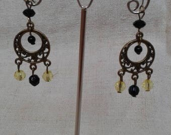 """""""yellow and black duo"""" earrings"""