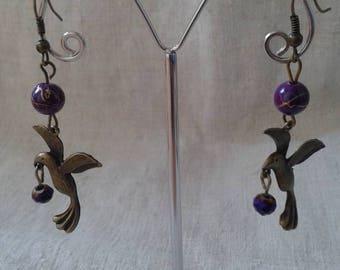 Bird and purple beads earrings