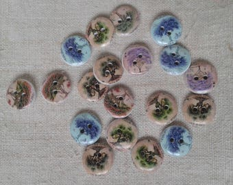 """set of 8 """"tree"""" wood buttons"""