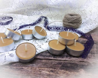 10 Handmade Beeswax Tea Light Candles