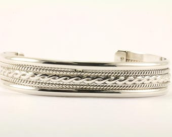 Vintage Braid Pattern Cuff Bracelet Sterling Silver BR 102