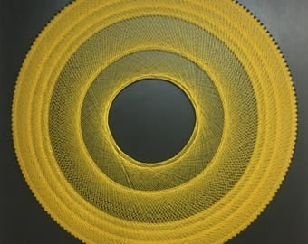 Large Original Art Circle Drawing// Graphic Thread Art Drawing in Yellow snd Black