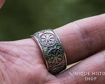 Helm of Awe Ring Aegishjalmur Handmade Sterling Silver Viking Ring