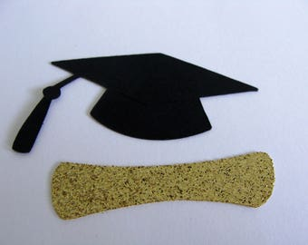 Graduation Confetti, Black and Gold Graduation Confetti, Grad Cap Confetti, Diploma Confetti, Grad table decor, Graduation Party Decor