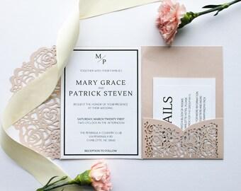 PRINTED Minimal Blush Wedding Invitations, Laser Cut Pocket Holder, Minimal Wedding Invite Suite, Spring Wedding, Summer Wedding