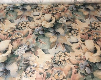 Vintage - 1990 House and Home large watercolor flowers in muted shades