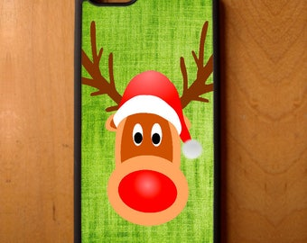 Rudolph Red Nose Reindeer Santa Hat Phone Case Samsung Galaxy S6 S7 S8 Note Edge Apple iPhone 4 5 5S 5C 6 6S 7 SE Plus + LG G3 skin rubber