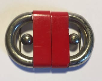 Modernist 1930s Art Deco Chrome and Bakelite Belt Buckle