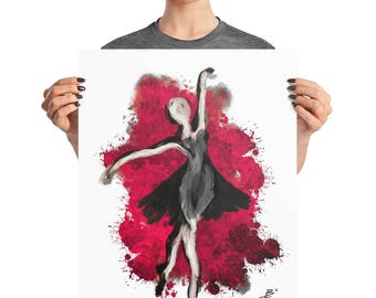Fiery Red Ballerina Poster, 8x10, 16X20, 18x24, Feminine Dancer Grunge Decor, Abstract Modern Print