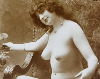 Original JEAN AGELOU french photo plain back postcard NUDE risque erotic erotique woman ja cpa mandel
