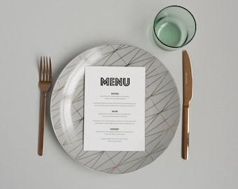 Modern Black and White Wedding Menu -  Simple Bold Wedding Menu - Monochrome Menu Card - On the Day Stationery - Wedding Day