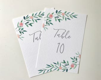 Leafy Green Floral Wedding Table Number - Watercolour Peach Table Number - Rustic Wedding Reception Decor