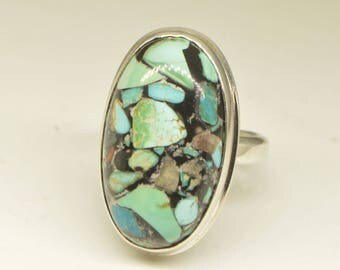 Turquoise ring size 7, mosaic stone ring, silver Turquoise ring, love talisman ring, blue stone ring, gemstone ring, raw turquoise ring