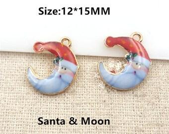 10pcs/lot  Gold Cute Snowman Charms, Half Moon Charm, Santa Charms Pendant Diy Jewelry Necklace Bracelet Pendants Accessory