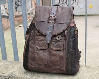 Leather backpack, upcycling
