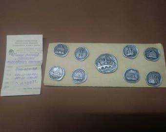 Russian tourist souvenir 9  pin set  1992