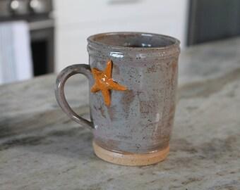 Starfish Mug, Handmade Ceramic Mug, Ceramic Coffee Cup, Coffee Cup, Handmade Mug, Coffee Mug, Pottery Mug