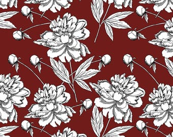 Crafting Maroon Fabric, Floral Print, Cotton Fabric, Dress Material, Moss Georgette Fabric, Fabric By The Yard, MIN-FL15A