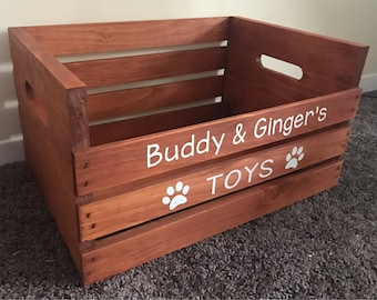 Personalized Wooden Crate For Cat/Dog/Pet Toys -- Toybox For Your Pet