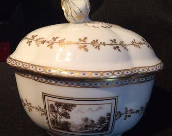 Vintage Richard Ginori Sugar Bowl with Lid- Made in Italy