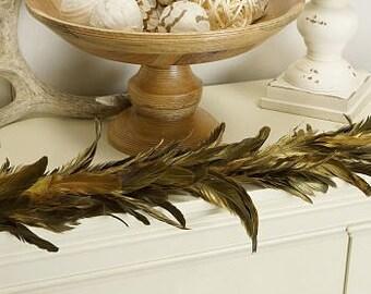 Gilded Metallic Gold Feather Garland - GRXHBG--BL-GO