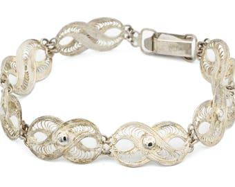 800 Silver Filigree Bracelet, Antique 1940s Jewelry, Panel Link Cannetille Bracelet, Victorian Jewelry, Delicate Wirework Bracelet, Wedding