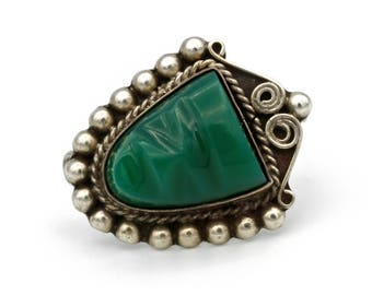 Antique 1930s Tribal Brooch, Carved Gemstone Pin, 925 Sterling Silver, Mayan Warrior Face, Aztec Ethnic Mask Pin, Green Chrysoprase Stone