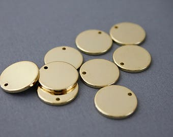 Gold Disc Charm Supply Blanks Disc Supplies for Making Jewelry 4Pcs / GC - 6